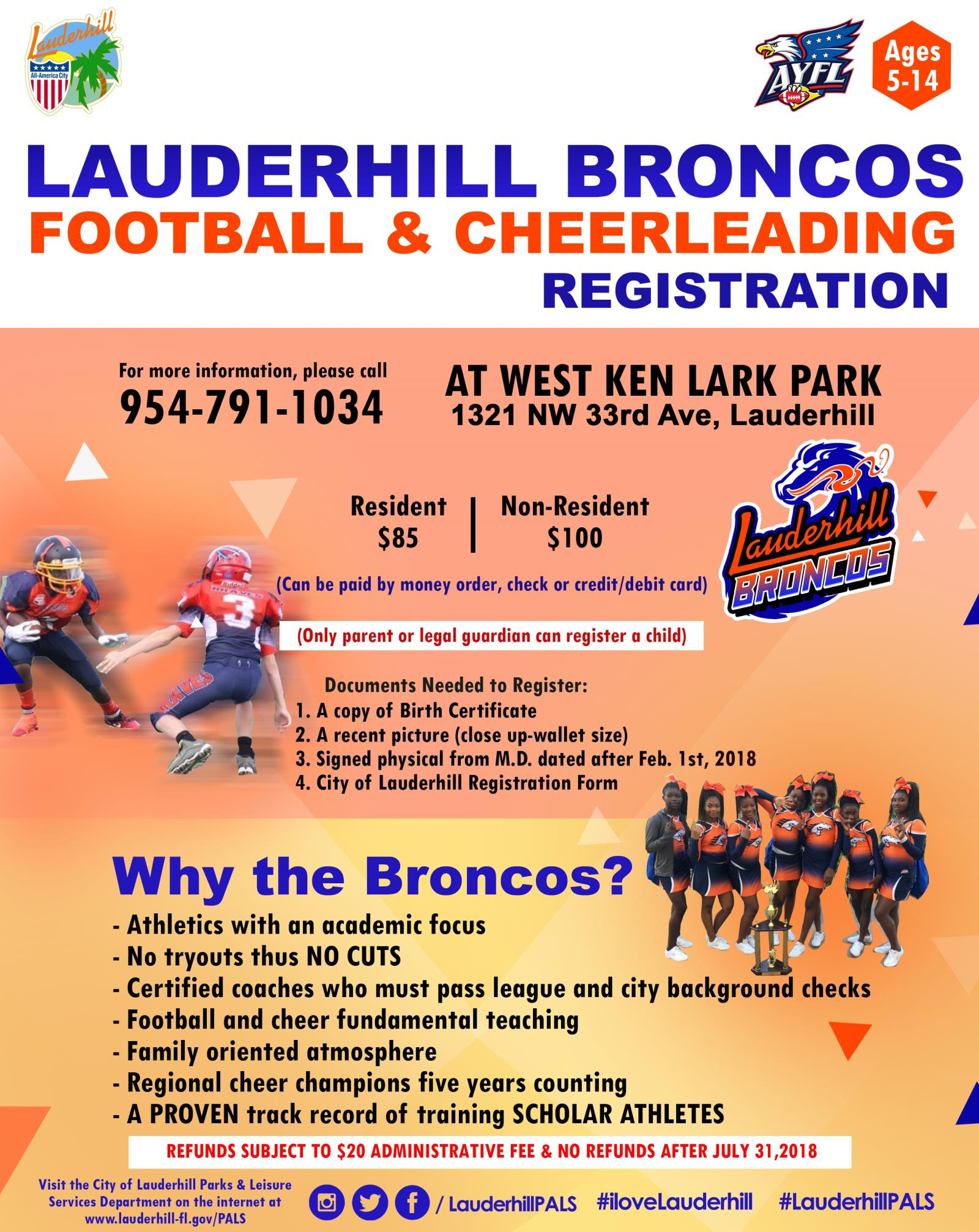 Broncos Cheerleading & Football Registration Flyer