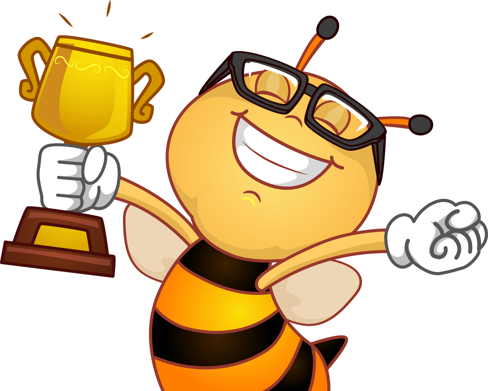Cartoon bee with glasses and trophy