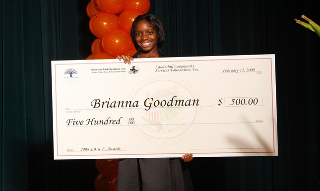 Brianna Goodman with Check