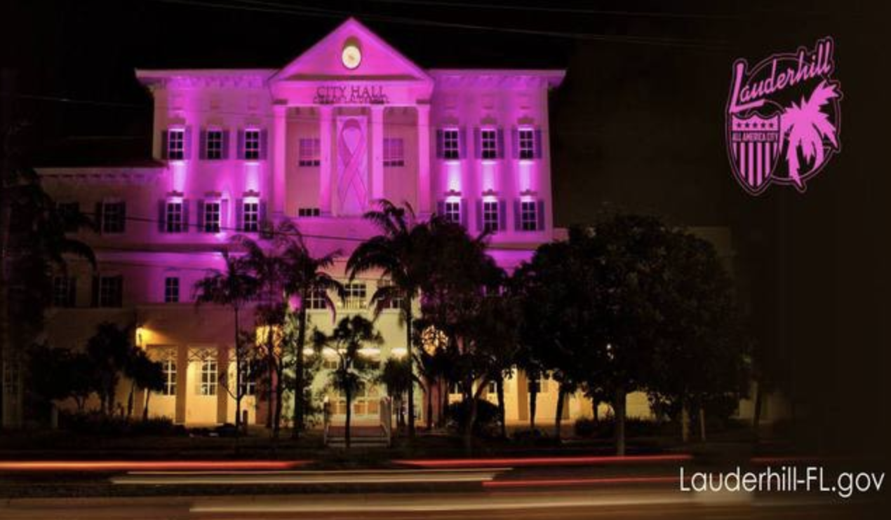 Lauderhill City Hall lit up in HOT PINK!