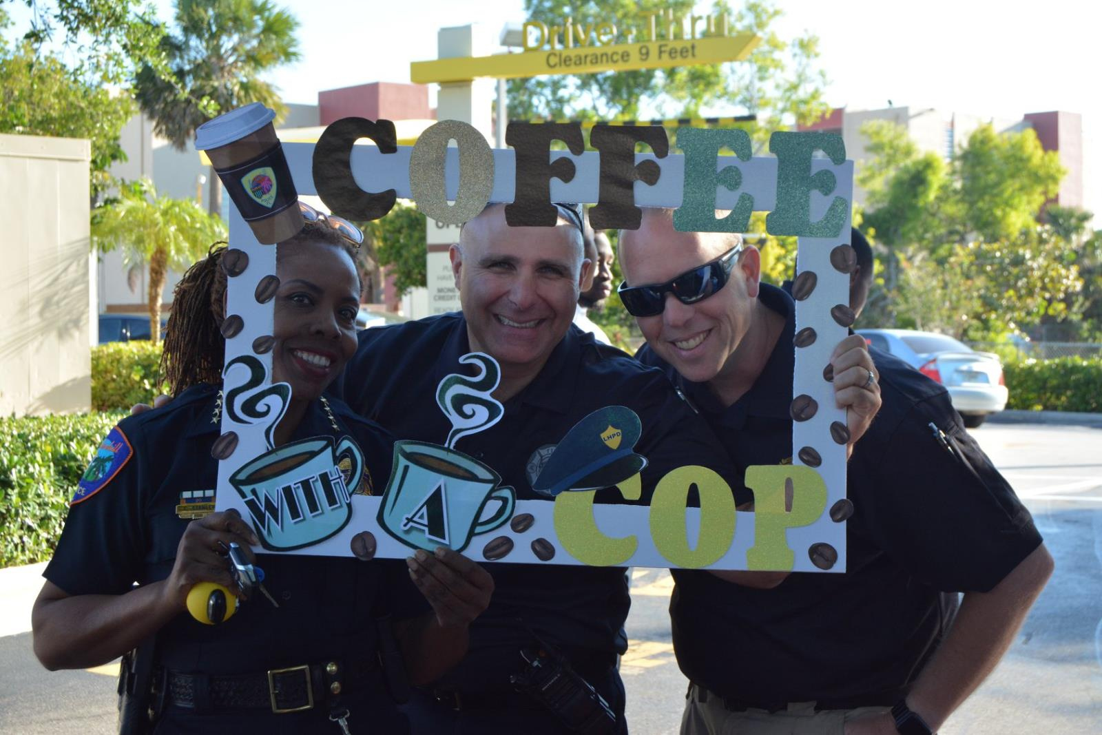 Chief Stanley, Deputy Fire Chief Torres, & Assistant Fire Chief Levy at Coffee with a Cop