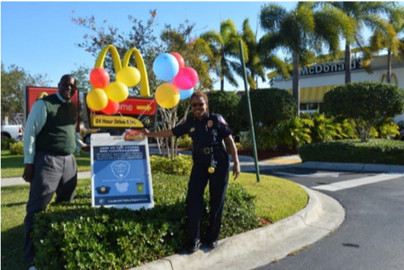 Picture of Chief Constance Y. Stanley with Mr. Roderick Hagan, franchise owner of the McDonalds Restaurant