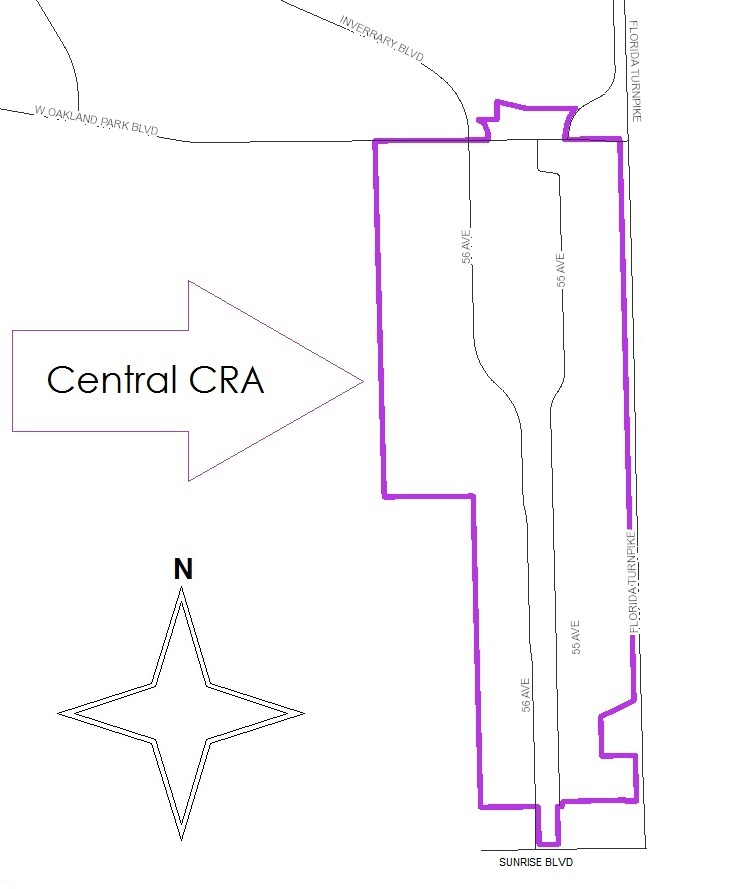 The Central CRA roughly lies south of West Oakland Park Boulevard and west of Florida's Turnpike within Lauderhill's bounds.
