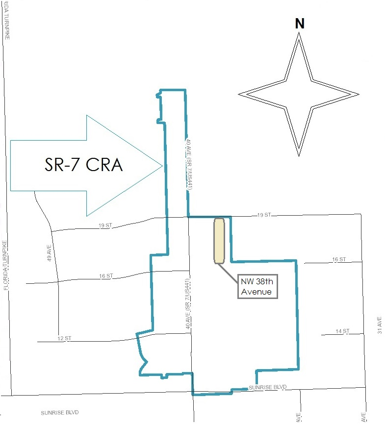 The State Road 7 CRA mainly encompasses the commercial zones located along State Road 7, or US Route 441, between NW 27th Street and West Sunrise Boulevard.
