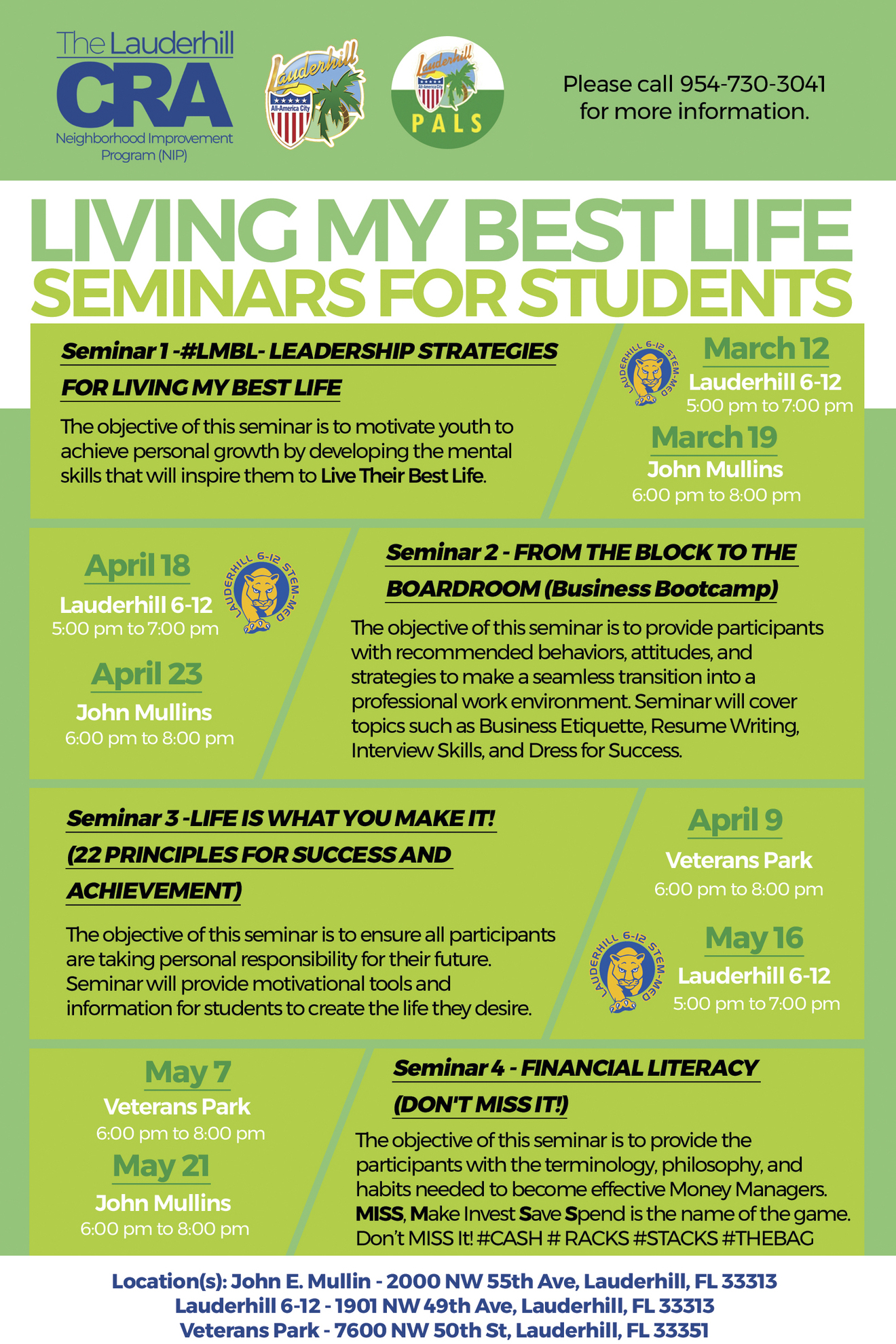 CRA - Living My Best Life Seminars for Students Flyer