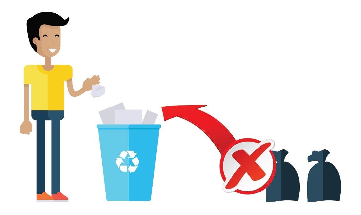 Man throwing paper into recycling bin. Regular garbage should not be thrown into a recycling bin.