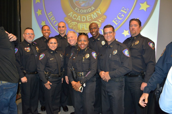 L/R: (back row) Major Gordon, Officers Williams, Grasso, Deputy Chief Siegel, Officer Clarke and Major Parmalee, (front row) Officer Creque-Aqui, Chief Stanley and Officer Bartra.