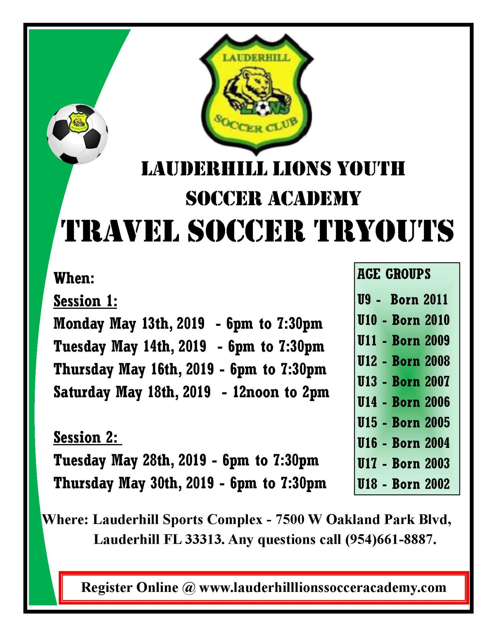 Travel Soccer Tryout Flyer