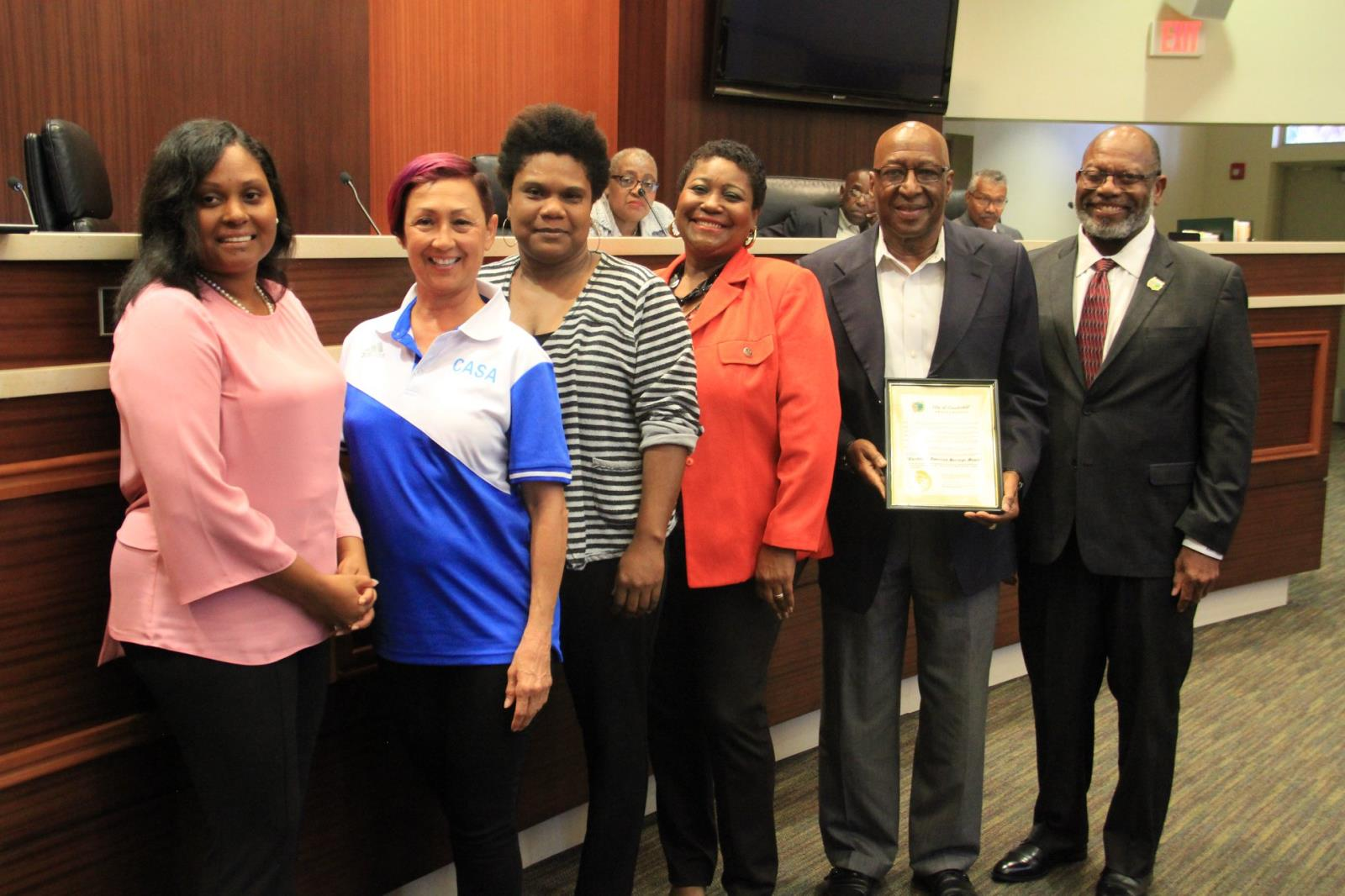 CASA - Caribbean Americas Soccer Association members receiving proclamation