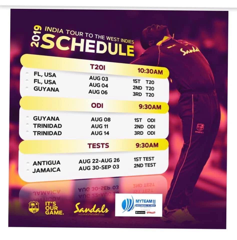 The schedule of the India tour to the West Indies