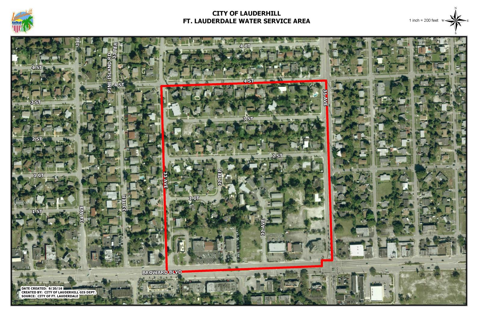 Ft. Lauderdale Water Service Area Map July 19