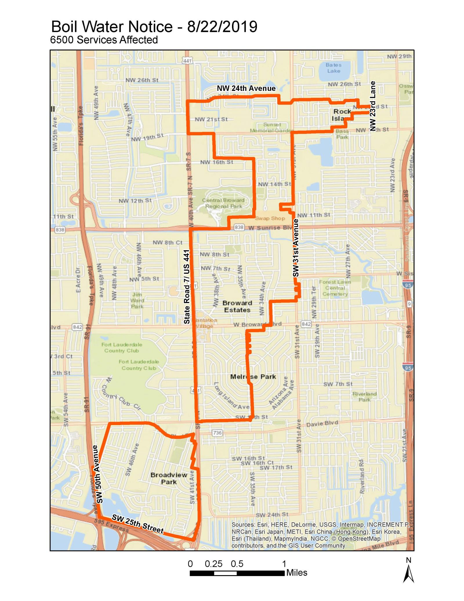 Broward County Water Main Break - Boil Water Map - 8-22-19