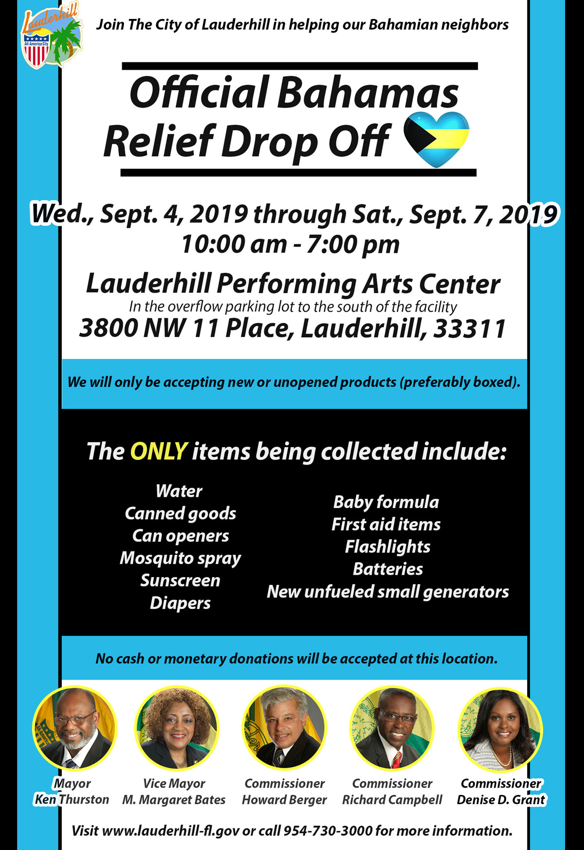 Lauderhill Opens an Official Bahamas Relief Drop Off Location for Donations