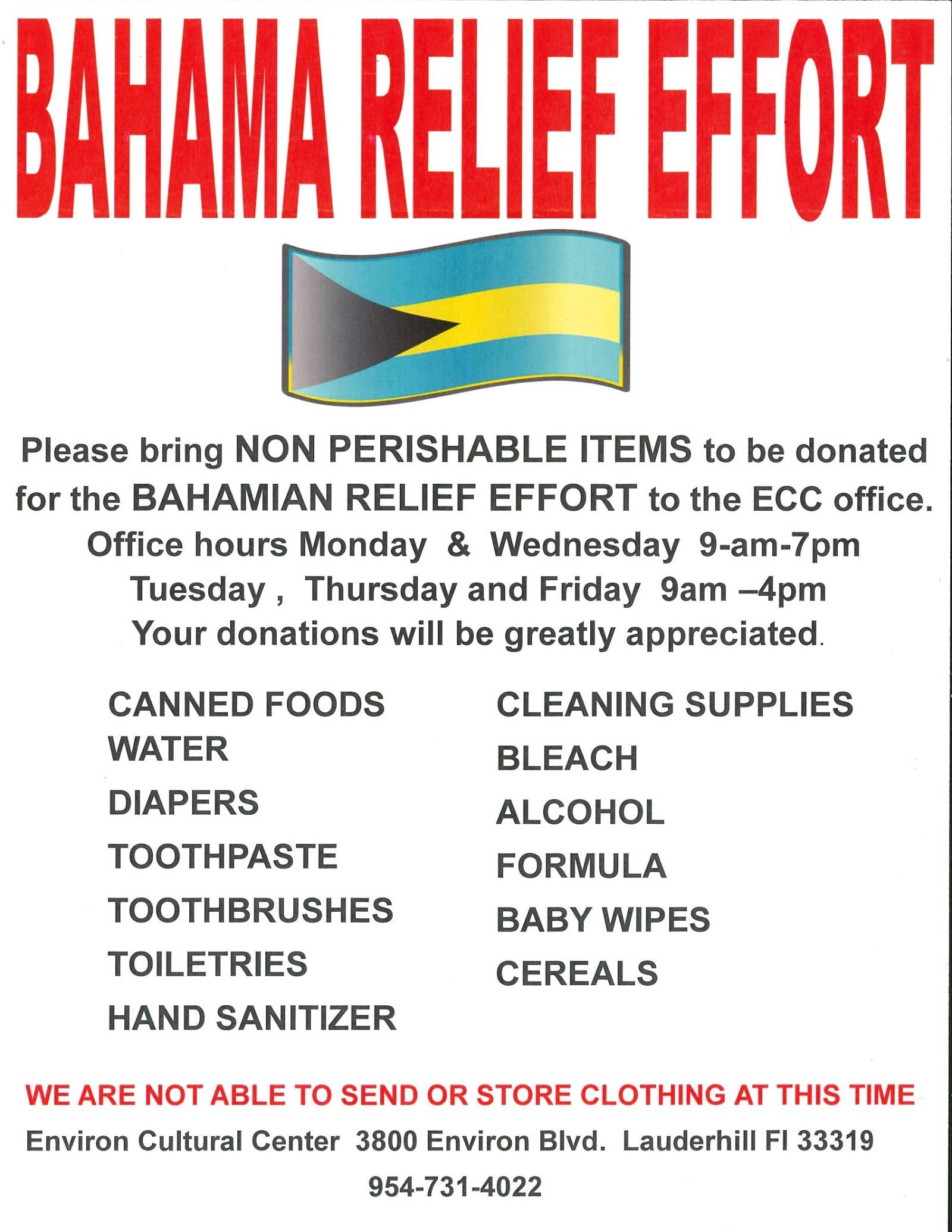 2019 Bahama Relief Effort Flyer - Environ Cultural Center Information