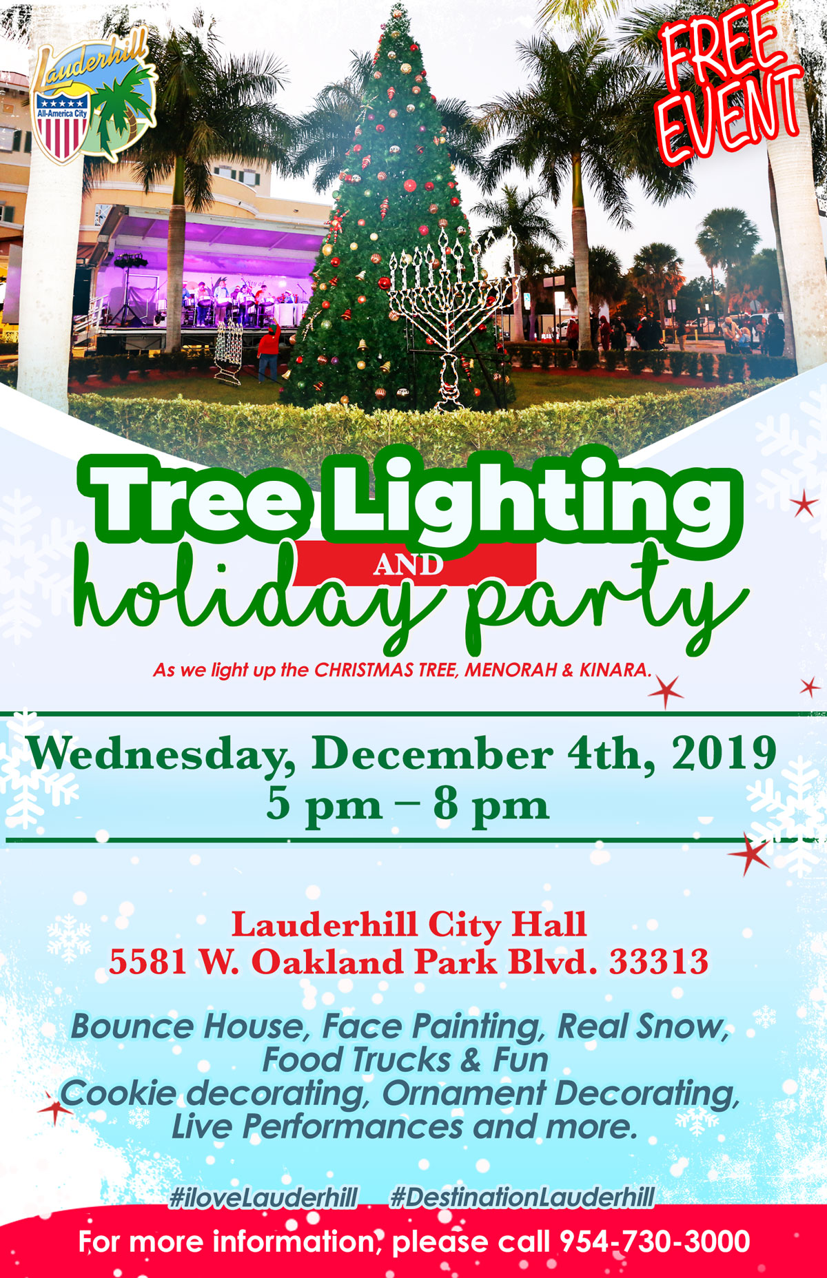 2019 Tree Lighting & Holiday Party - Flyer