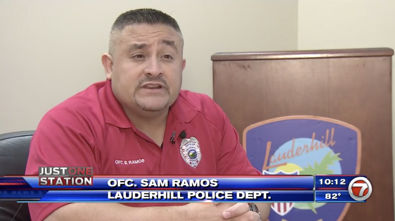 Officer Samuel Ramos on Channel 7 News