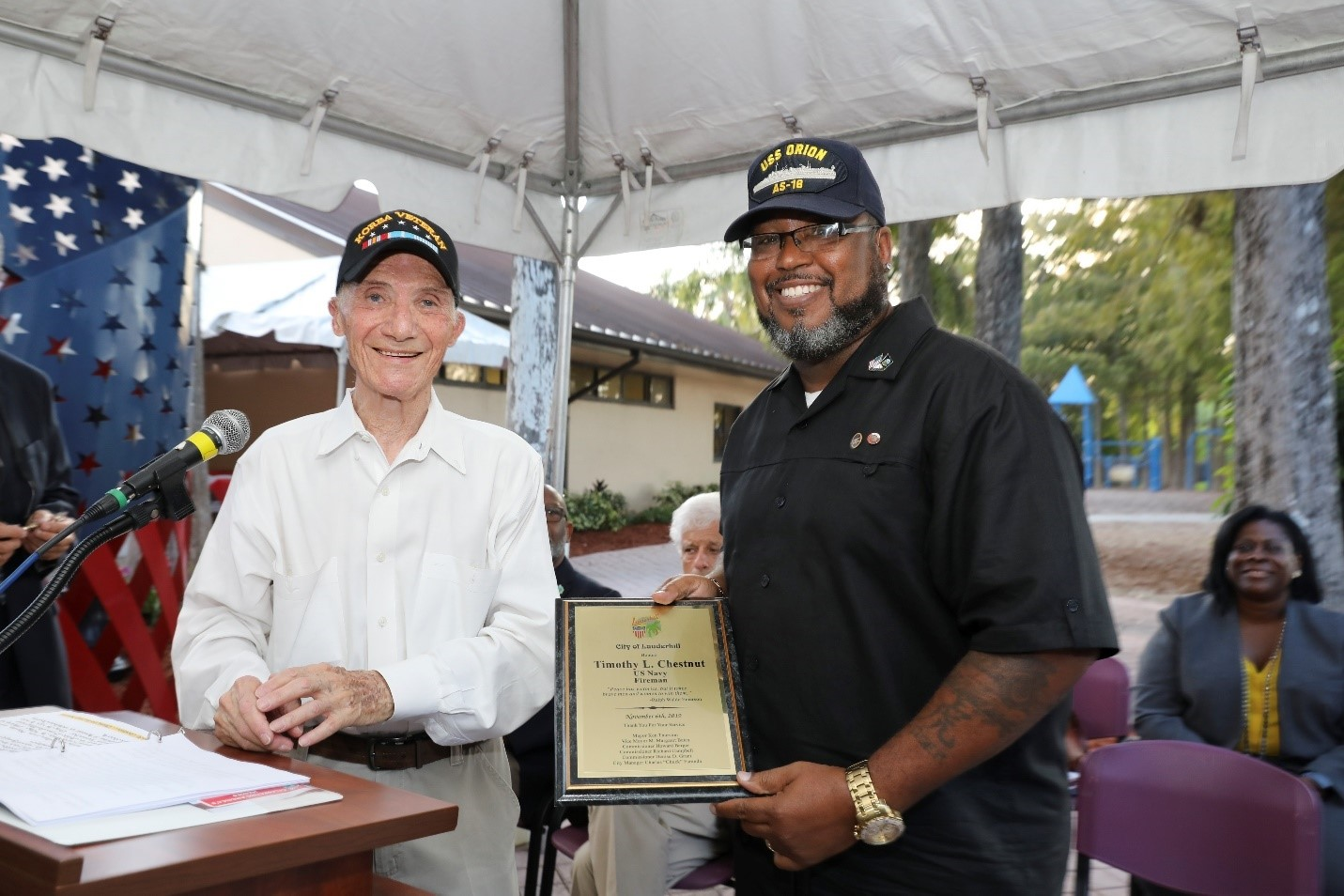 Timothy L Chestnut is commemorated by Korean War Vet at Lauderhill Veterans Recognition Ceremony