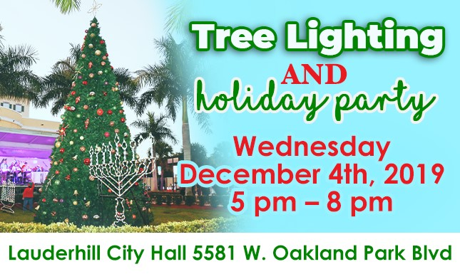 Tree Lighting and Holiday Party flyer