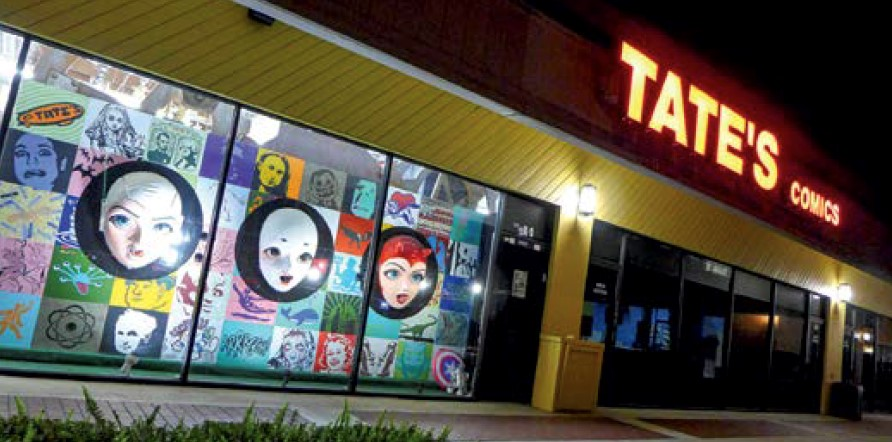 Exterior and storefront entrance of Tate's Comic Store in Lauderhill