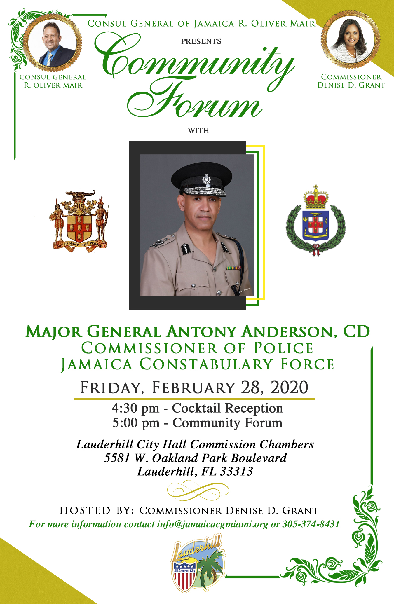 Community Forum with Consul General of Jamaica R. Oliver Mair Hostedy by Commissioner Denise D. Grant - 2-28-20
