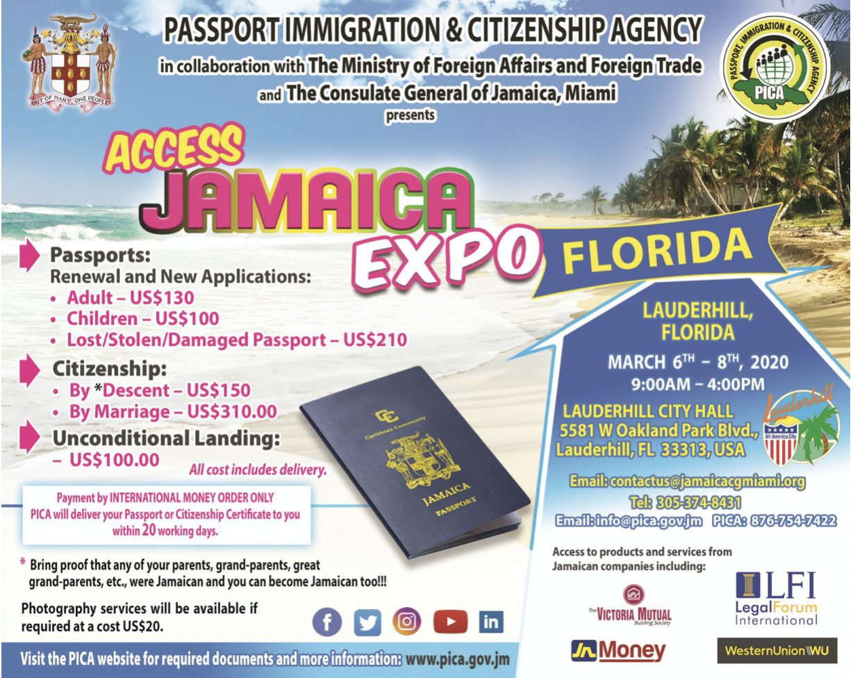 Passport Immigration and Citizenship Agency flyer for Access Jamaica 2020
