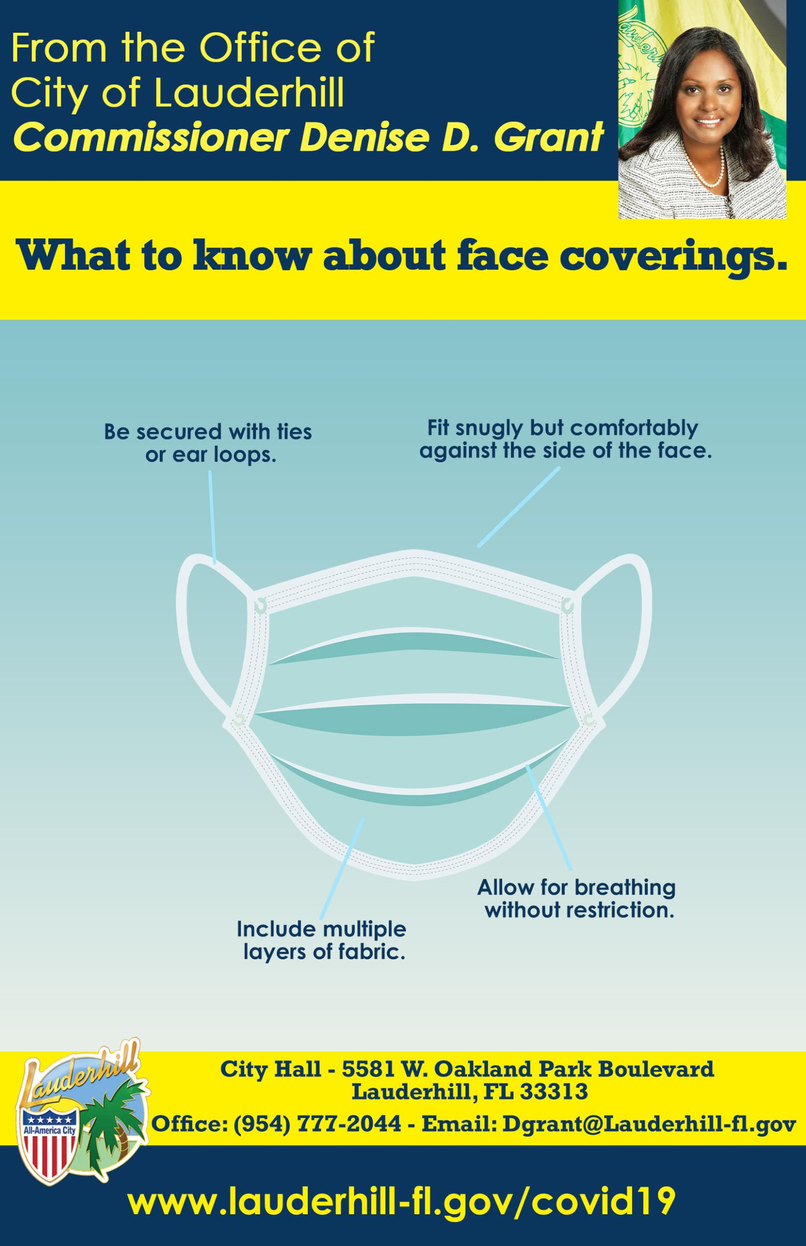 Commissioner Grant - COVID-19 Precautions - Face Coverings - Flyer