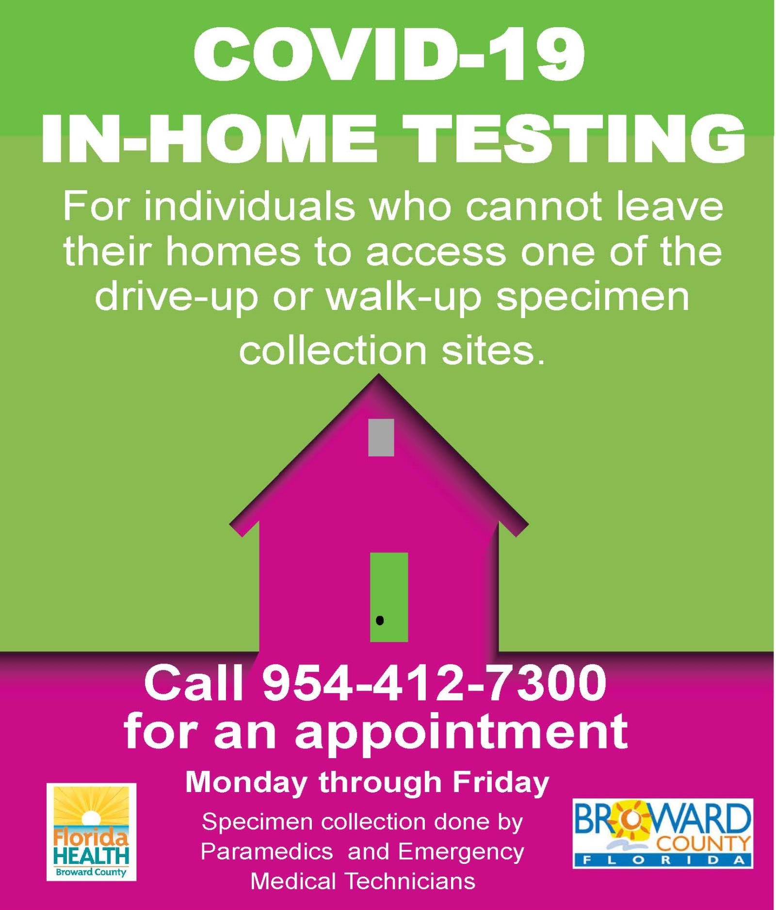 Broward County - COVID-19 In Home Mobile Testing Flyer