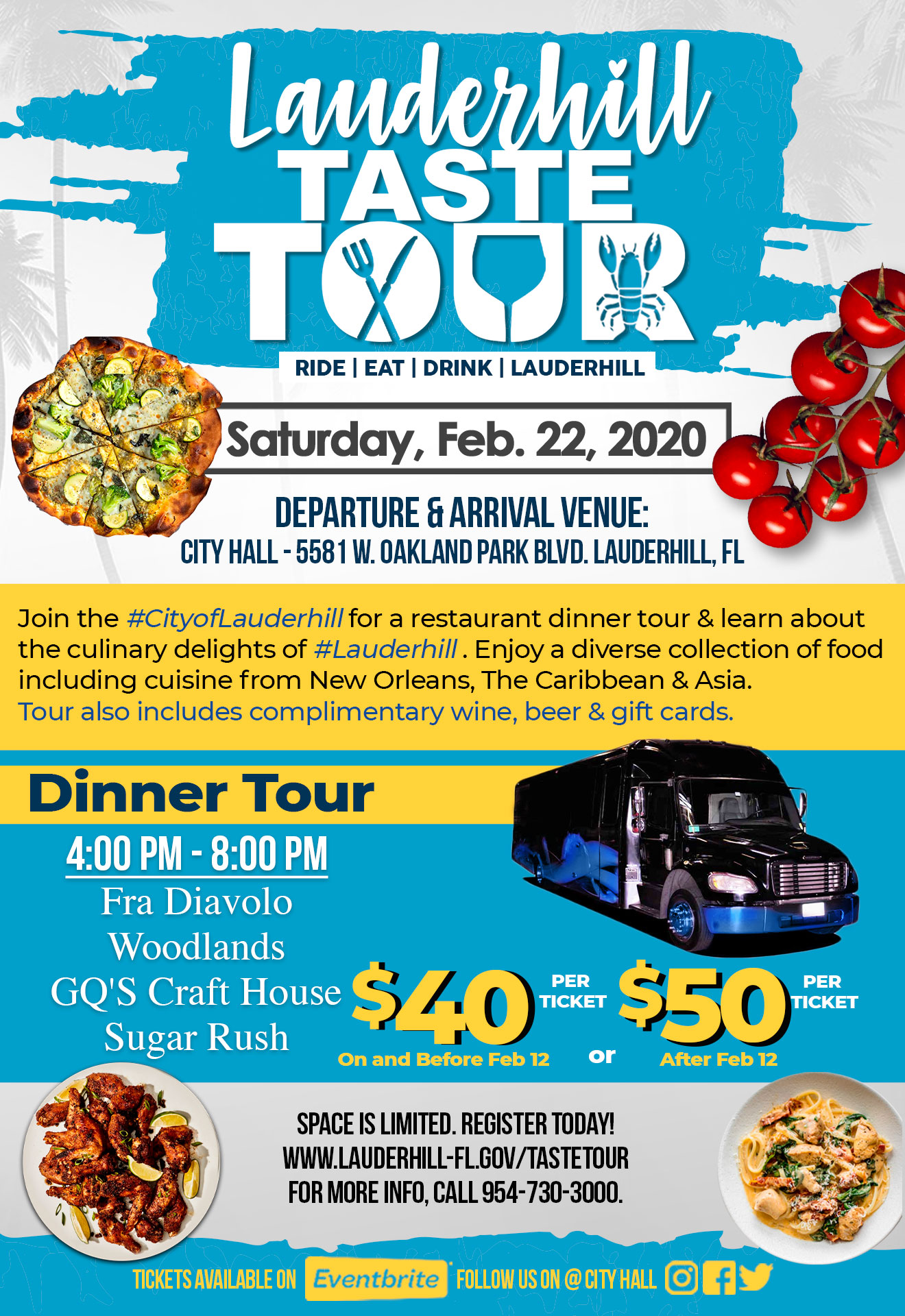 2020 Lauderhill Taste Tour Flyer - Dinner
