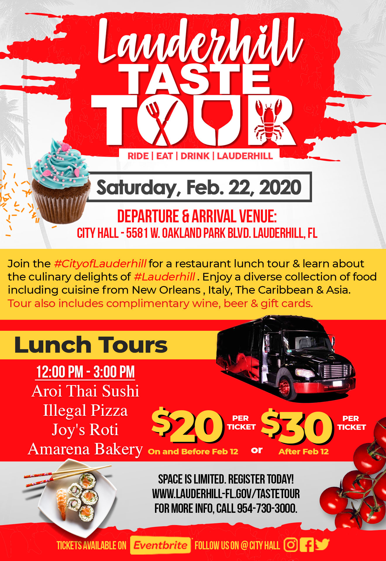 2020 Lauderhill Taste Tour Flyer - Lunch