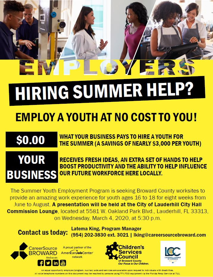 Career Source Broward - Summer Youth Employment Hiring Event - 3-4-20