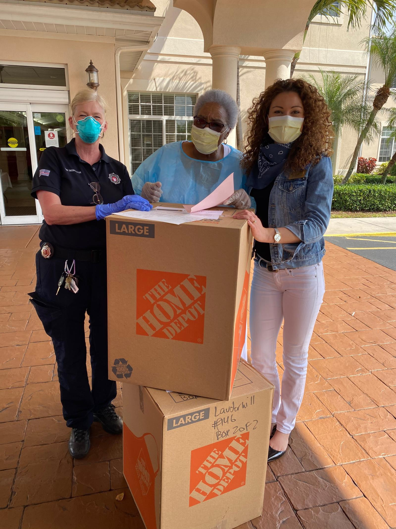 Fire Inspector Laura Lillie delivered Personal Protective Equipment to Life Care Center