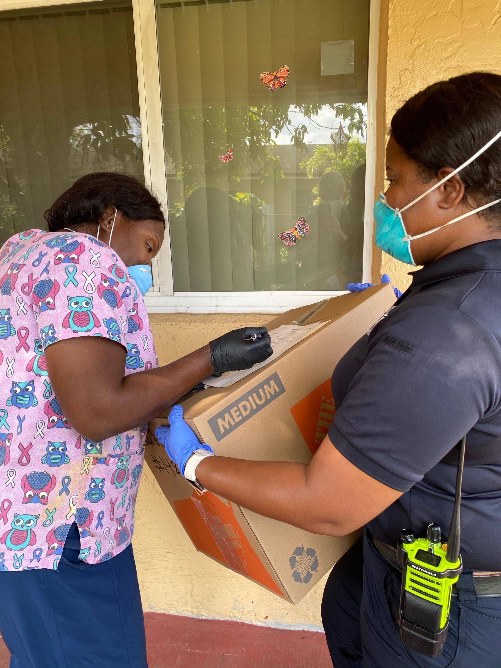 Fire Inspector Sheniqua Johnson delivered supplies to Morning Breeze Assisted Living Facilities
