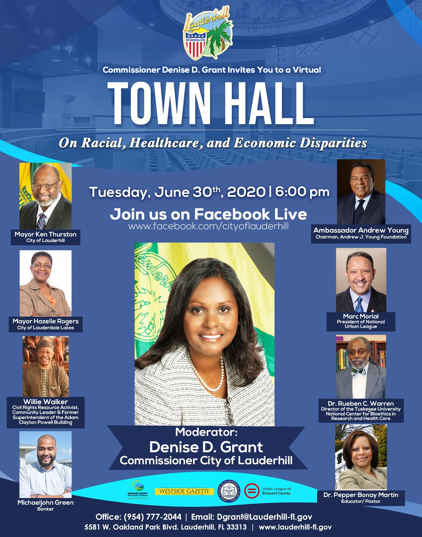 6-30-20 - Virtual Town Hall On Racial, Healthcare, and Economic Disparities - Flyer
