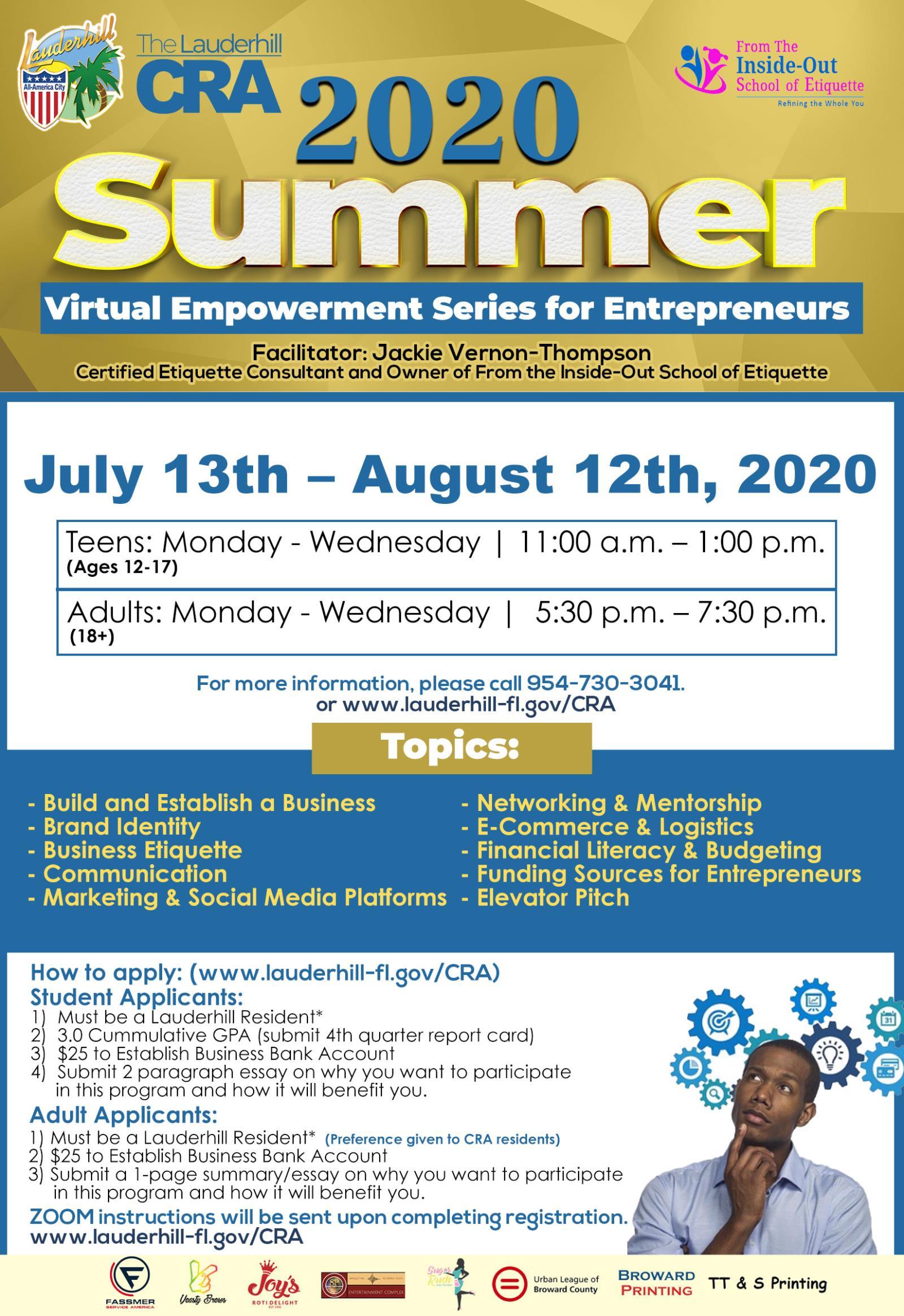 7-13-20 to 8-12-20 - Virtual Summer Empowerment Series for Entrepreneurs