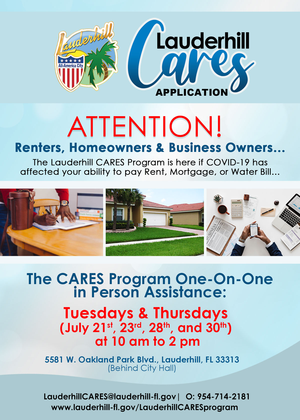 Lauderhill CARES Application - One-On-One In Person Assistance - Flyer