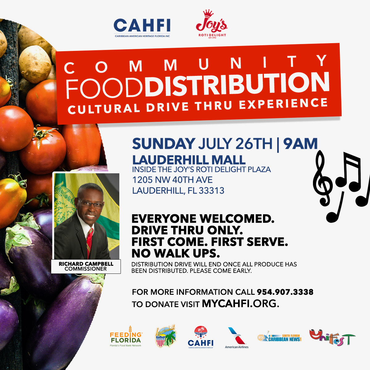 7-26-20 - COVID-19 Drive-Thru Food Distribution - Joy''s Roti Event Flyer