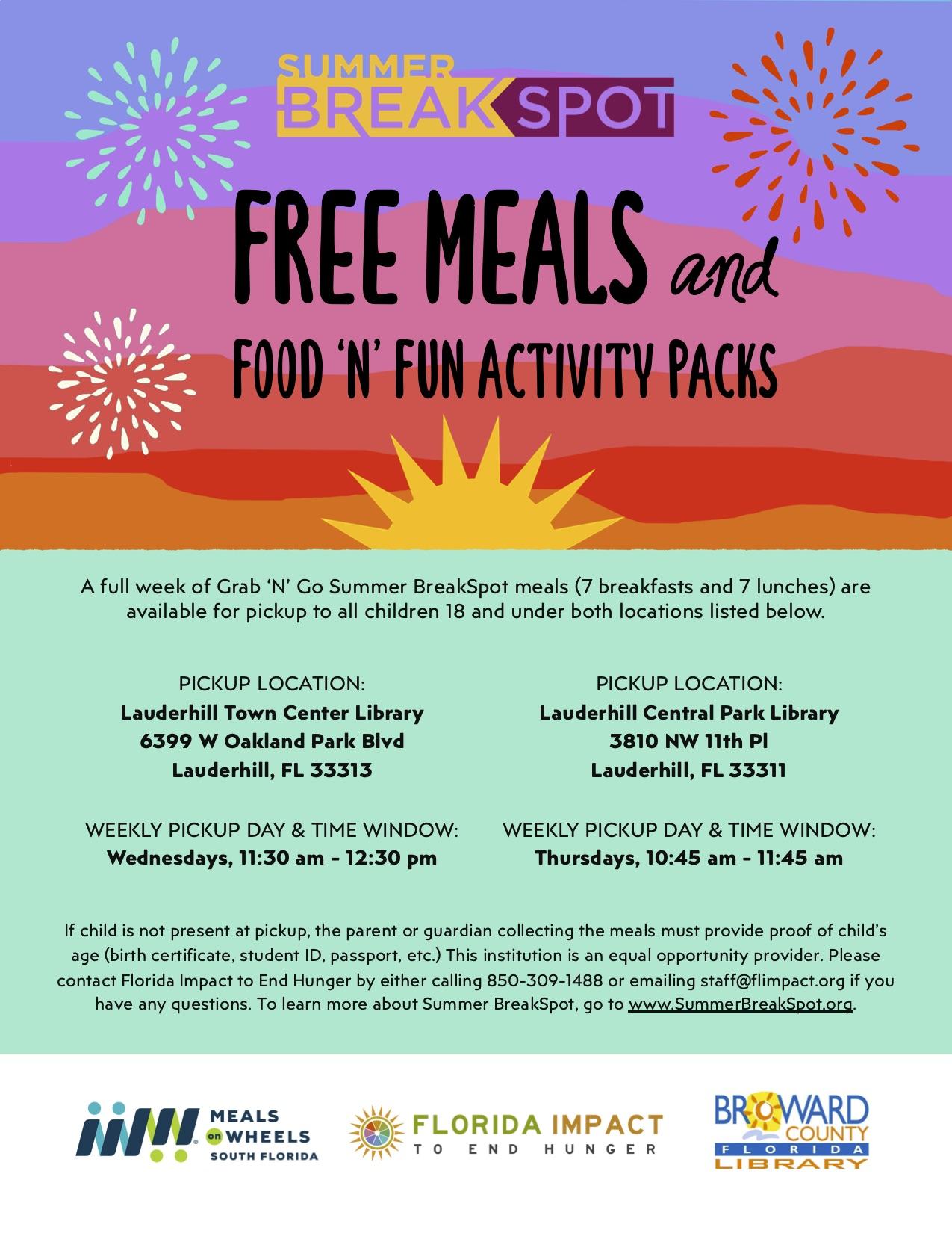2020 Summer Break Spot - Food N Fun Poster Flyer - Lauderhill Town Center and Central Park Libraries