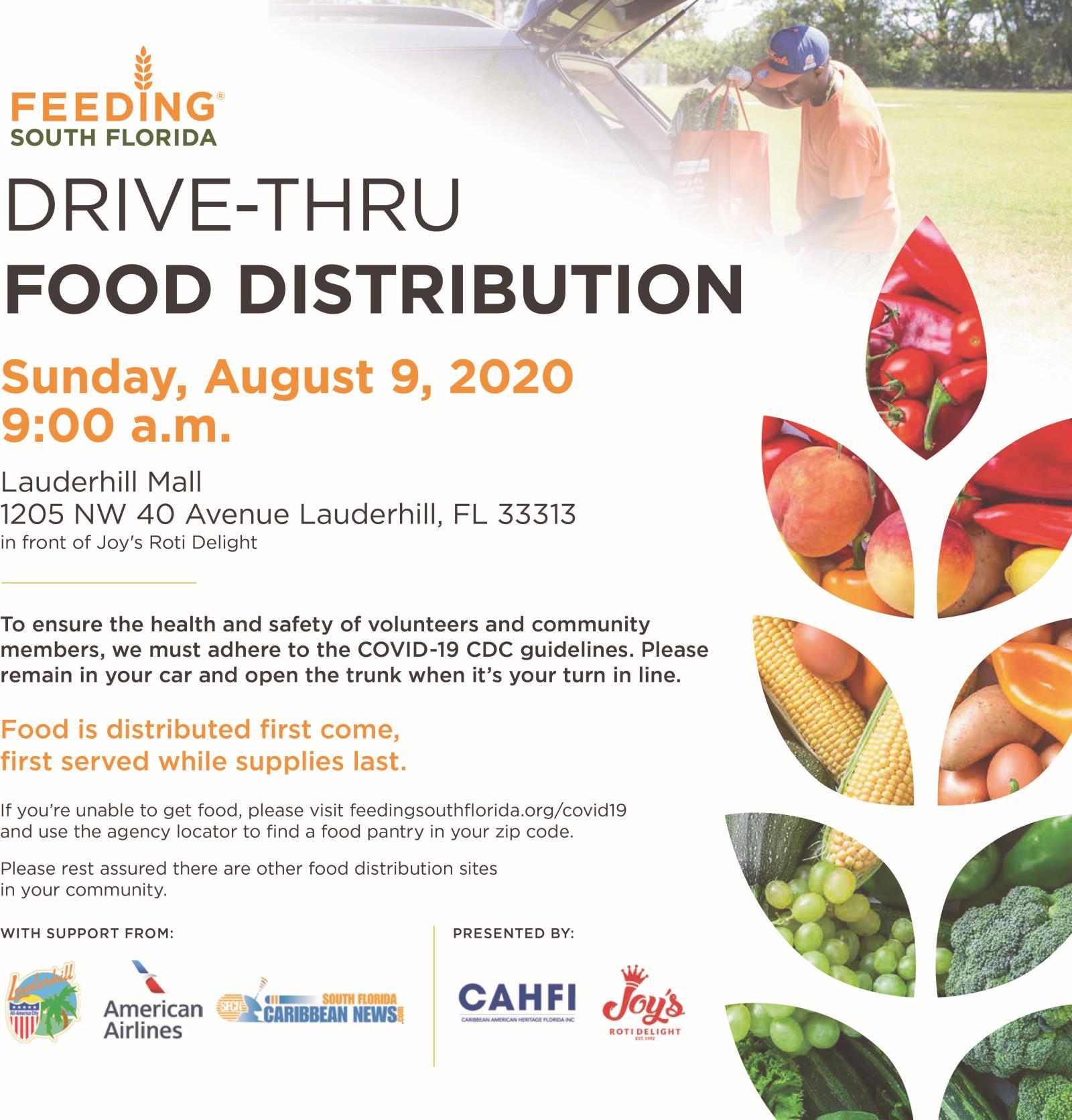 8-9-20 - COVID-19 Drive-Thru Food Distribution - Joy''s Roti Event Flyer