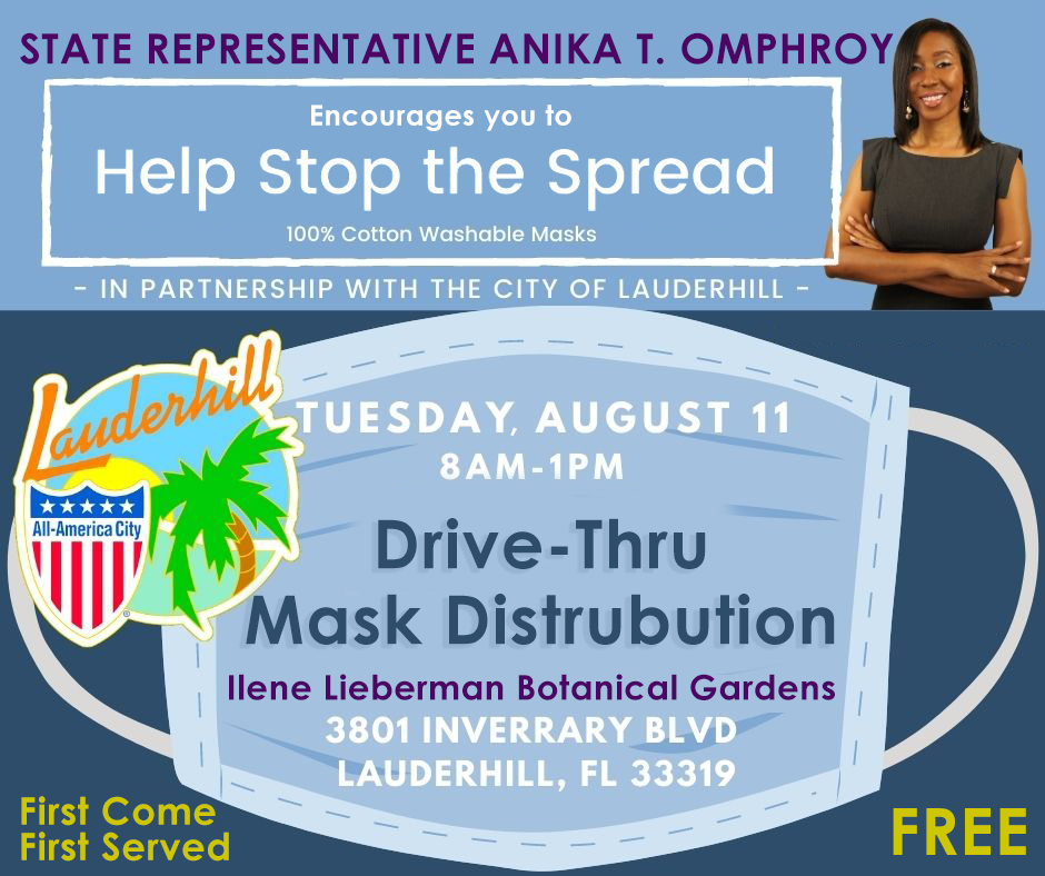 Representative Omphroy Drive-Thru Mask Distribution - Flyer - 8-11-20 Event