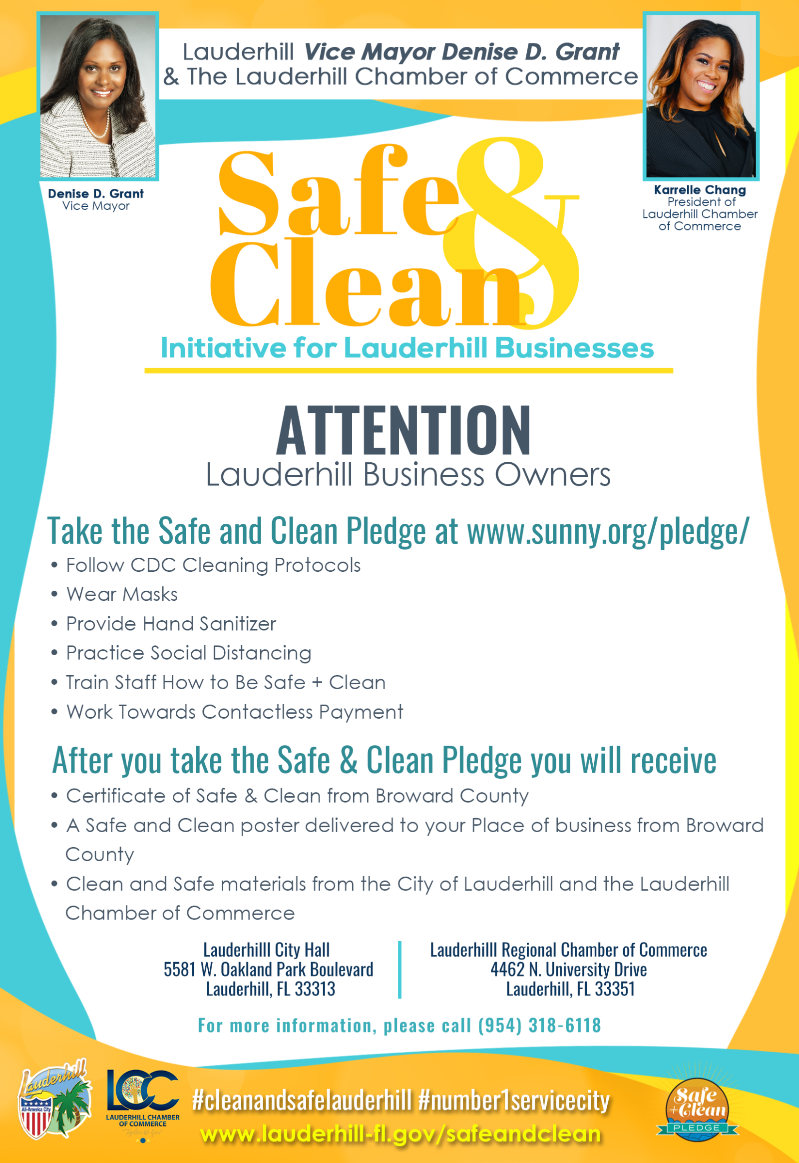 Safe & Clean - Initiative for Lauderhill Businesses - Flyer