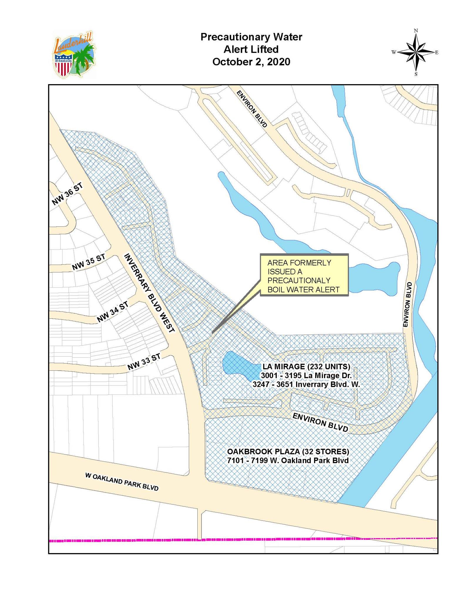 2020 News Release - Precautionary Boil Water Notice Rescinded - Water Outage Map (La Mirage & Oakbrook  Plaza)