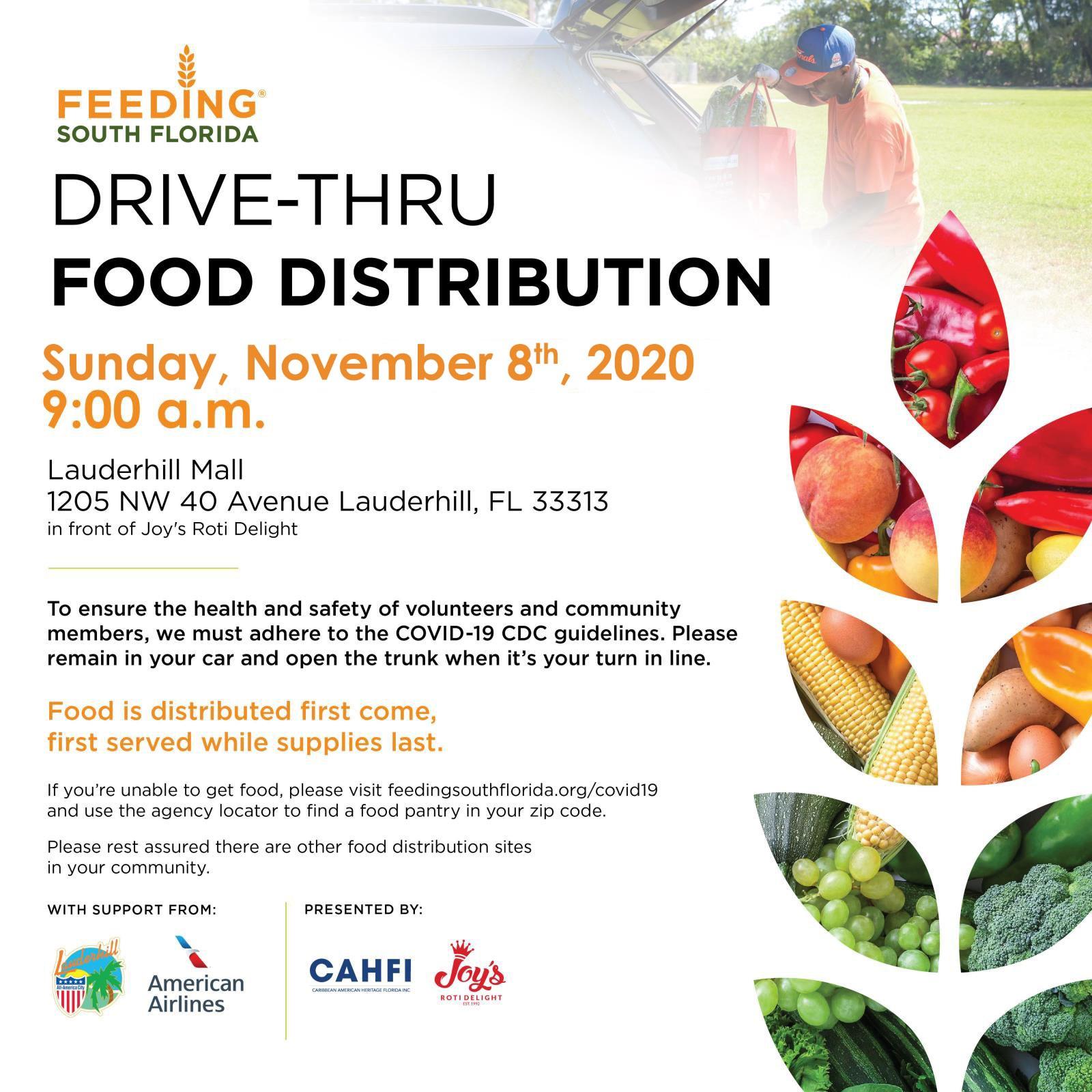 11-8-20 - COVID-19 Drive-Thru Food Distribution - Joy''s Roti Event Flyer