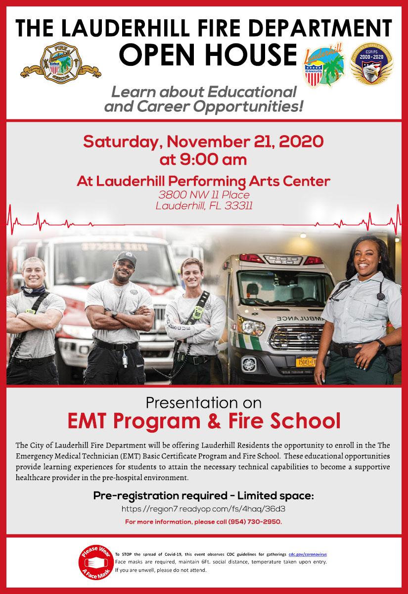 11-21-20 - LFD EMT Program & Fire School Open House - Flyer