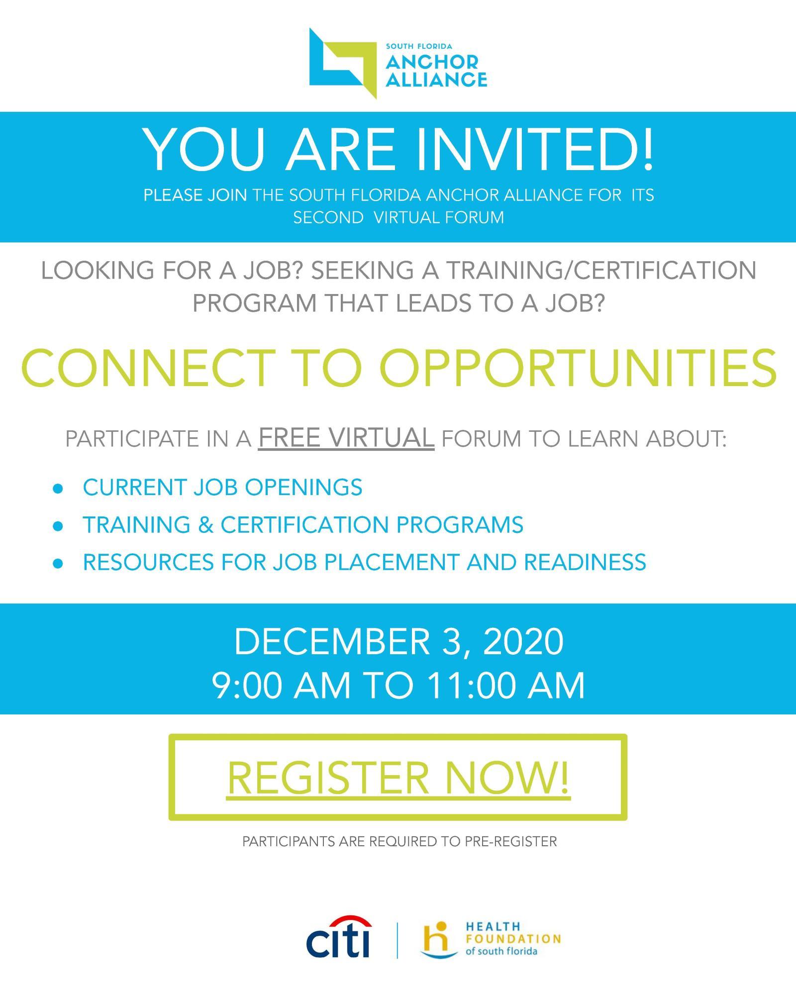 South Florida Anchor Alliance Workforce Development Forum - Flyer